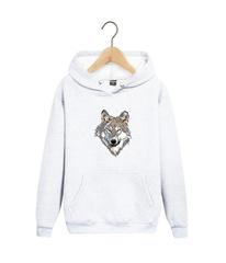Толстовка белая 008 с капюшоном (худи, кенгуру) и принтом Волк (Wolf)