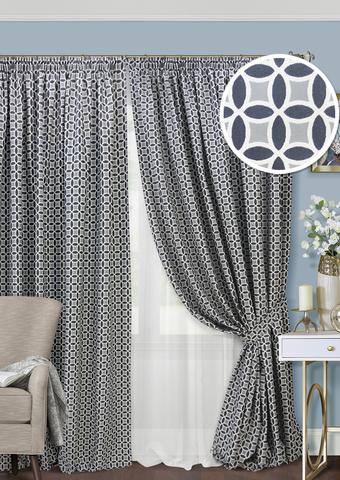 Комплект двухсторонний жаккард штор и тюль Любава насыщенный серый
