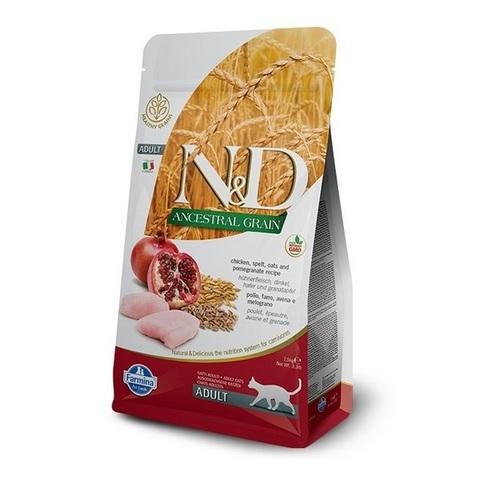 10 кг. FARMINA N&D LG Сухой низкозерновой корм для взрослых кошек с курицей, гранатом, спельтой и овсом Adult Cat Chicken&Pomegranate