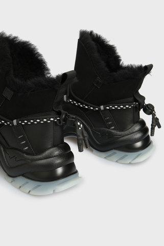 Женские черные кожаные ботинки Burnie PRPY