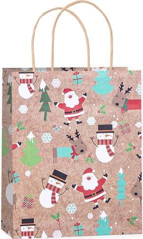 Пакет подарочный, Веселый Новый Год, Крафт, 25*21*10 см
