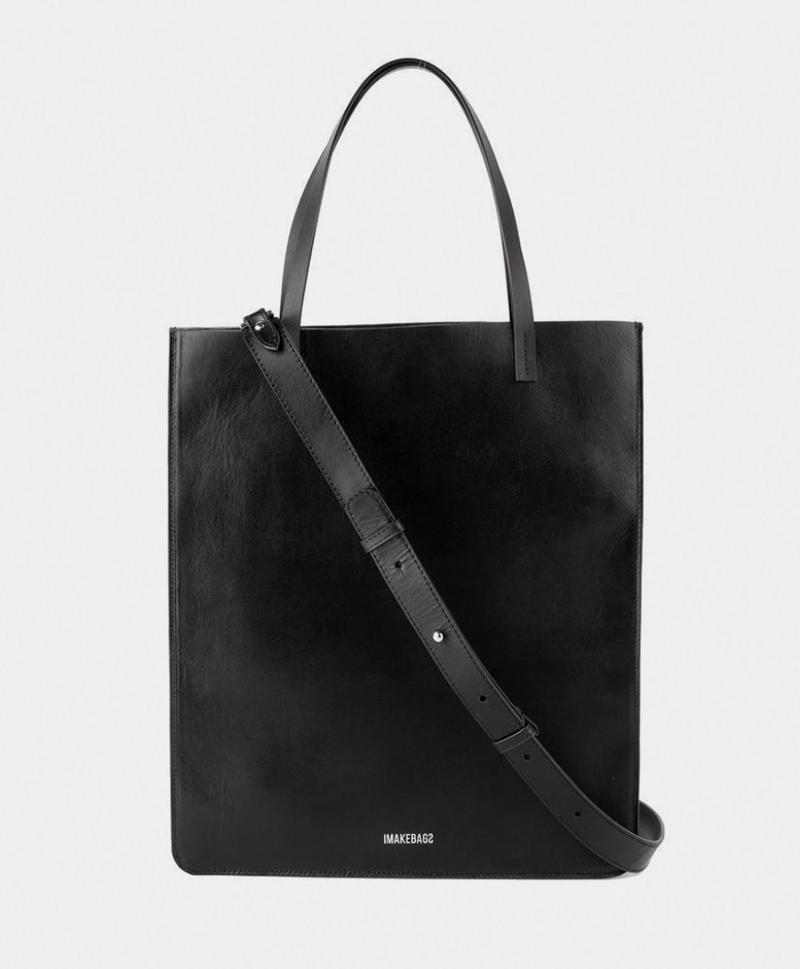 Сумка-шоппер-черного-цвета-IMB-с-ремешком