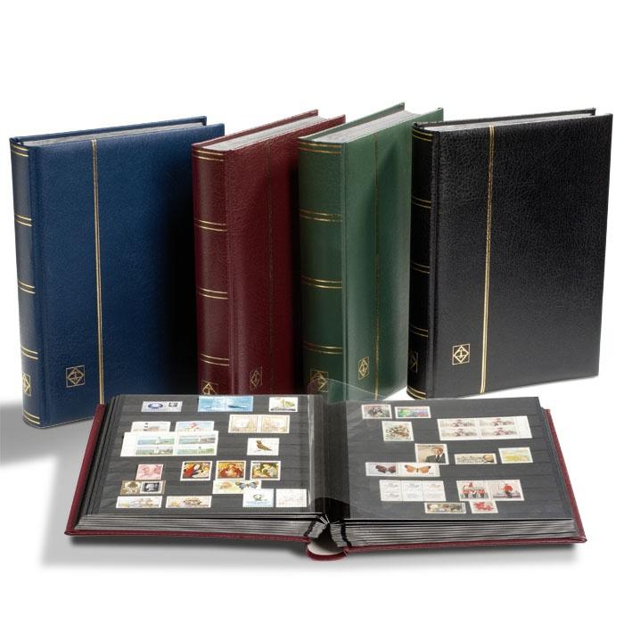 Кляссер для марок формата A4, 32 черные страницы, смягченная кожаная обложка, включая слипкейс, цвет зеленый