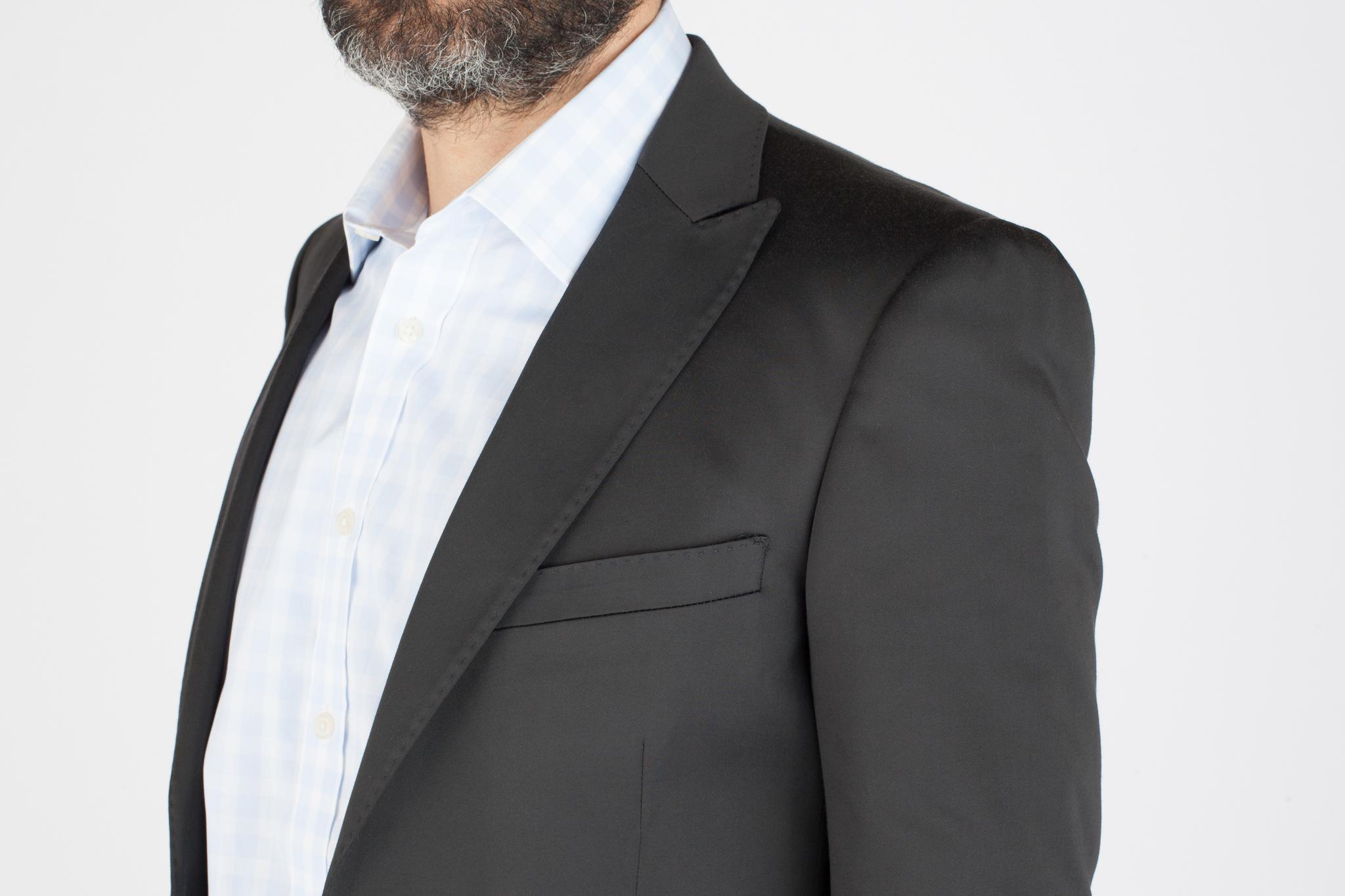 Тёмно-синий хлопковый костюм, нагрудный карман