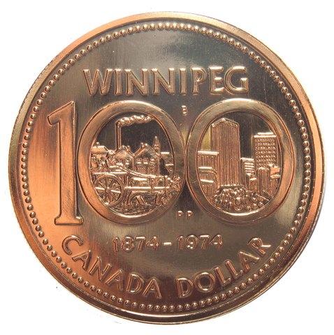 1 доллар. 100 лет городу Виннипег. Канада. Серебро с позолотой. 1974 год. BrUNC в родной коробке