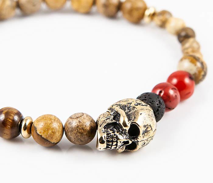 BS847 Браслет из камней с бронзовым черепом фото 05