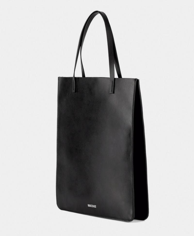 Сумка-шоппер-черного-цвета-IMB-сбоку