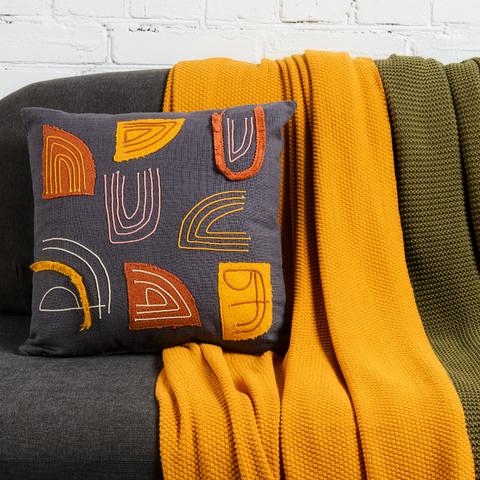 Подушка декоративная с бахромой и аппликацией из коллекции Ethnic, 45х45 см