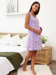 Мамаландия. Сорочка для беременных и кормящих с кнопками, птицы/сиреневый