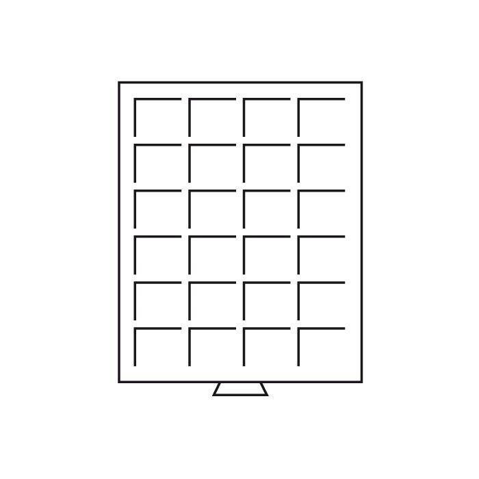 Кассета MB на 24 квадратных ячейки для монет D до 42 mm, бордовый ложемент