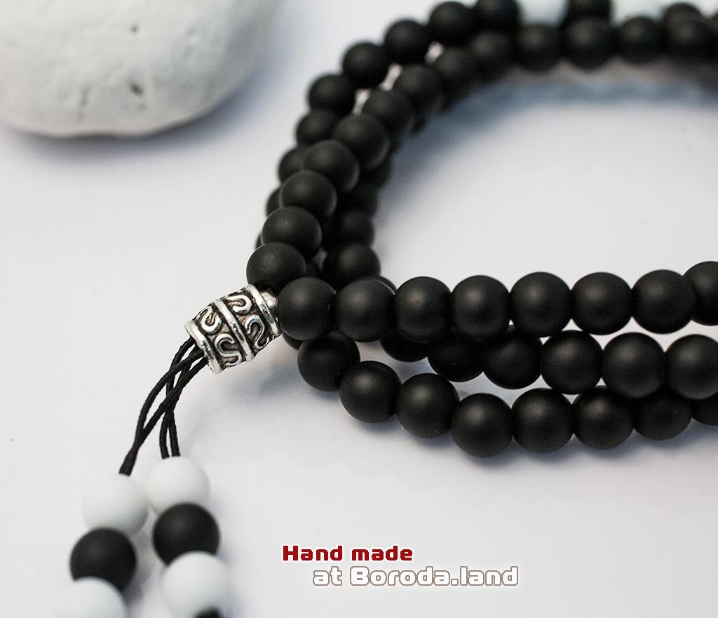 BS515-4 Тройной мужской браслет из карельского шунгита и агата, ручная работа