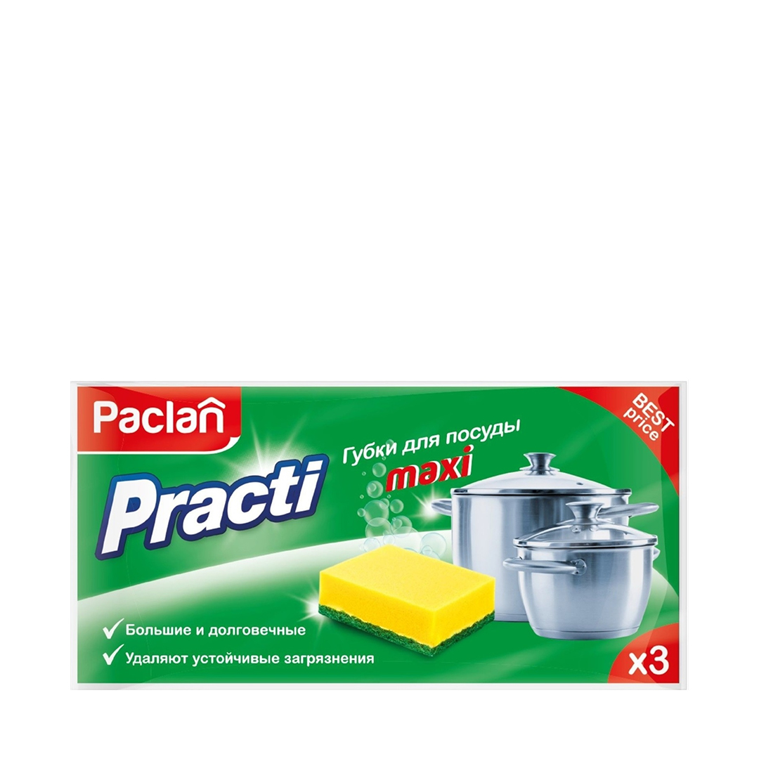 Paclan Practi Maxi Губки для мытья посуды 3 шт