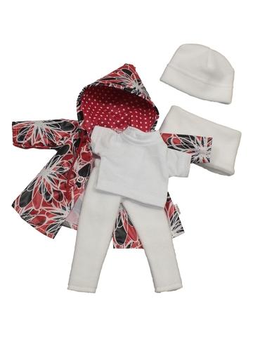 Комплект с плащем - Красный. Одежда для кукол, пупсов и мягких игрушек.