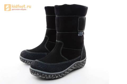 Зимние сапоги для мальчиков Лель из натуральной кожи на натуральном меху, цвет черный. Изображение 3 из 13.
