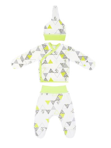 Mini Fox. Комплект для новорожденных 3 предмета, зеленые треугольники