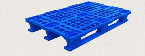 Поддон пластиковый перфорированный 1200x800x160 мм с полозьями, усиленный металлическим профилем. Цвет: Синий