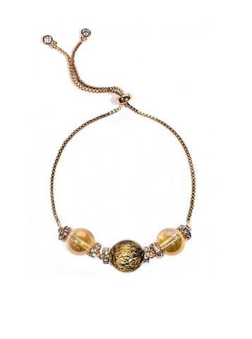 Браслет со стразами черно-золотой Franchesca Ca'D'oro Gold Black 064O