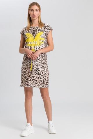 Marc Aurel Платье трикотажное с леопардовым узором, пальмами и надписью