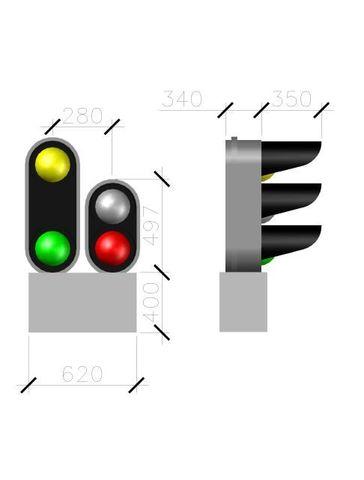 СвеТТофор 87009 Четырехзначный карликовый светофор (Тип 1+1-2), 1:87
