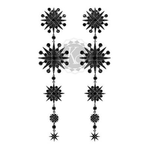 4627- Серьги FIVE STARS из серебра с черным родием в стиле Ko Jewelry