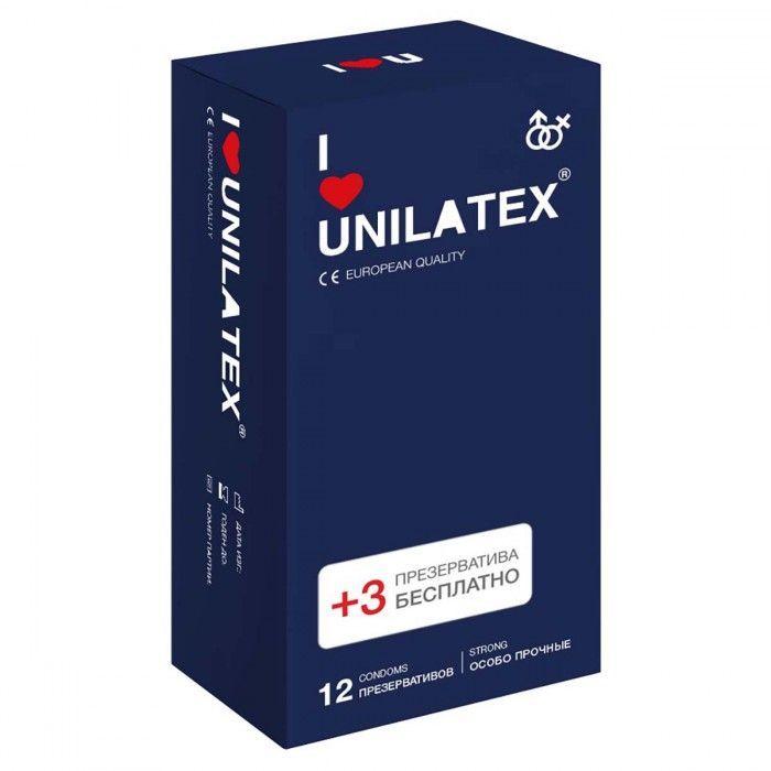 Ультрапрочные презервативы Unilatex Extra Strong - 12 шт. + 3 шт. в подарок