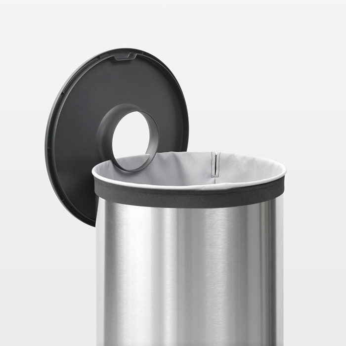 Бак для белья с пластиковой крышкой (60 л), Стальной матовый, арт. 105166 - фото 1