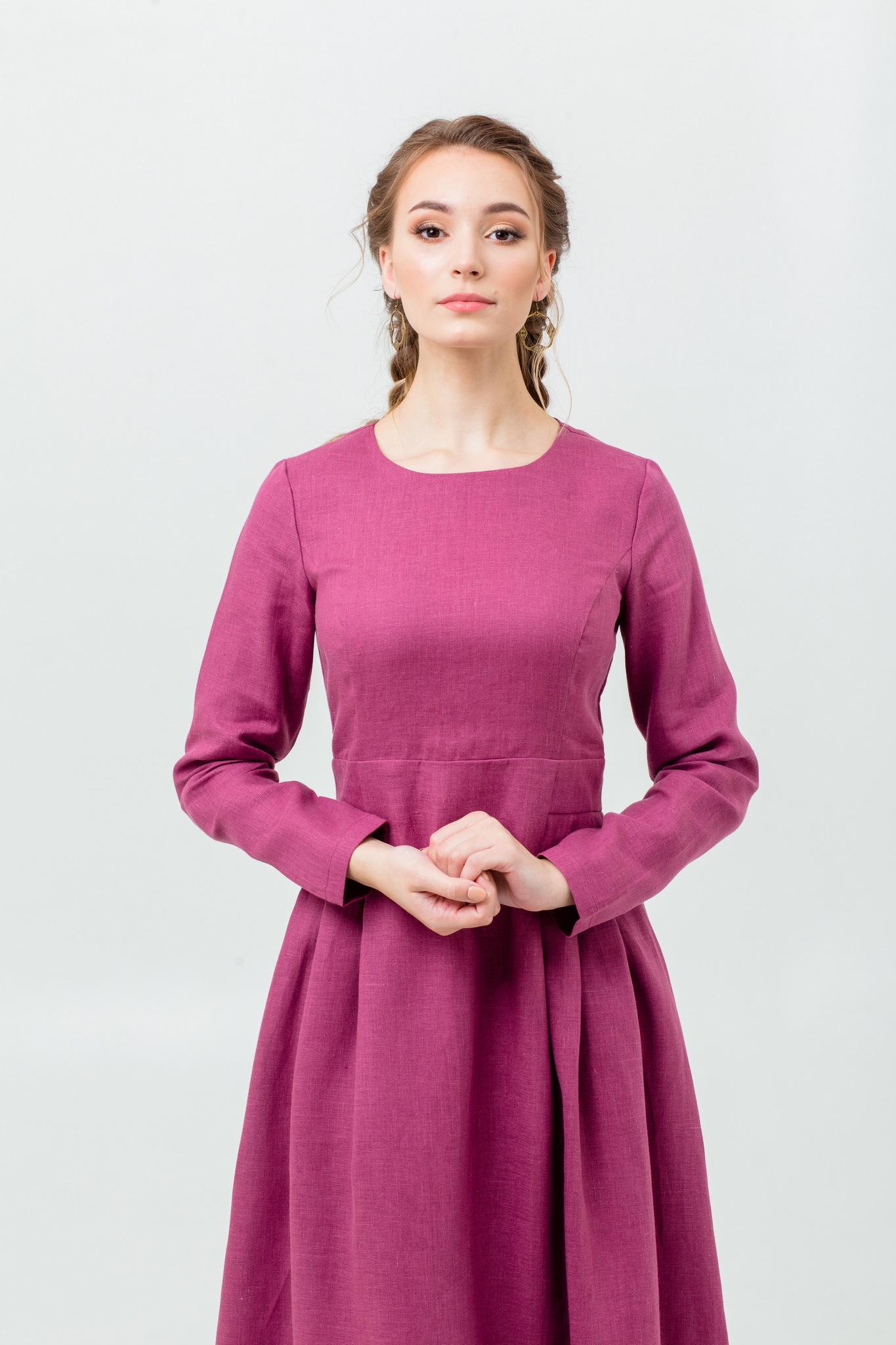 Платье для офиса Ежевика льняное
