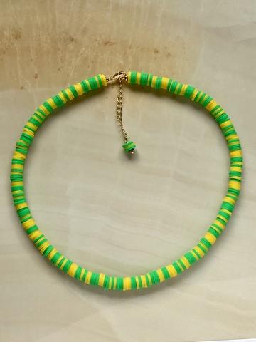 Колье Вулканера, зеленый и желтый каучук