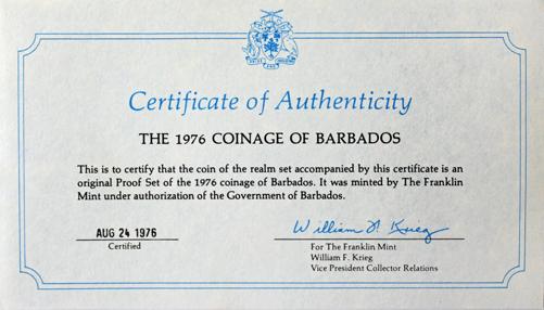 Набор монет Барбадоса 1976 г. (10 лет независимости). PROOF с сертификатом в родной коробке