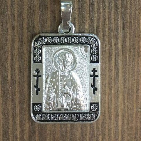 Нательная именная икона святой Александр с серебрением кулон с молитвой