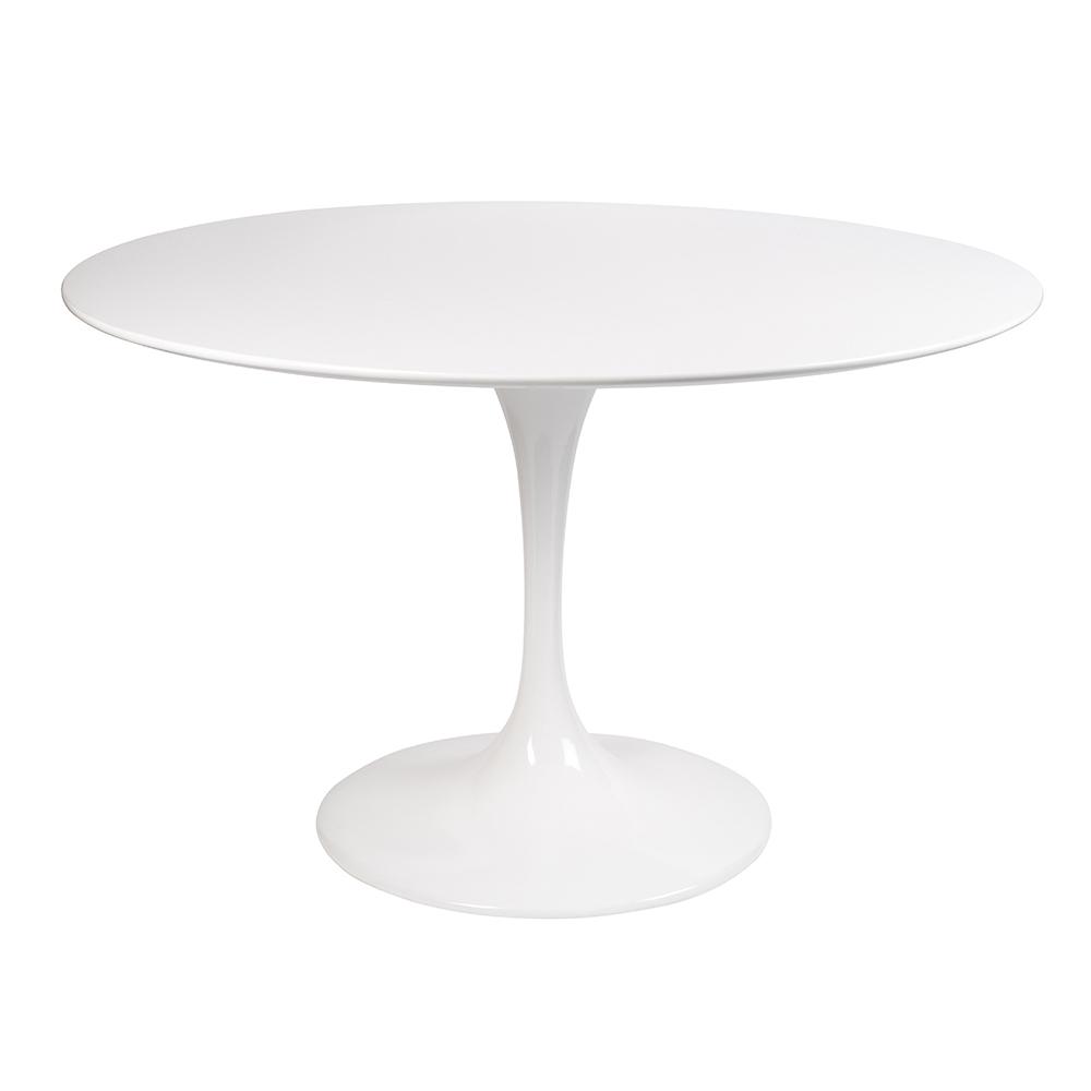 Стол Eero Saarinen Style Tulip Table MDF белый D110 глянцевый - вид 1