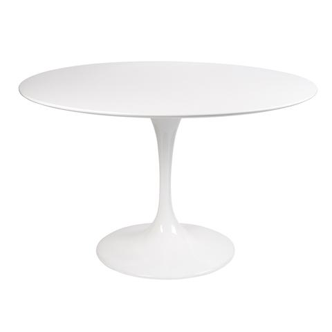 Стол Eero Saarinen Style Tulip Table MDF белый D110 глянцевый