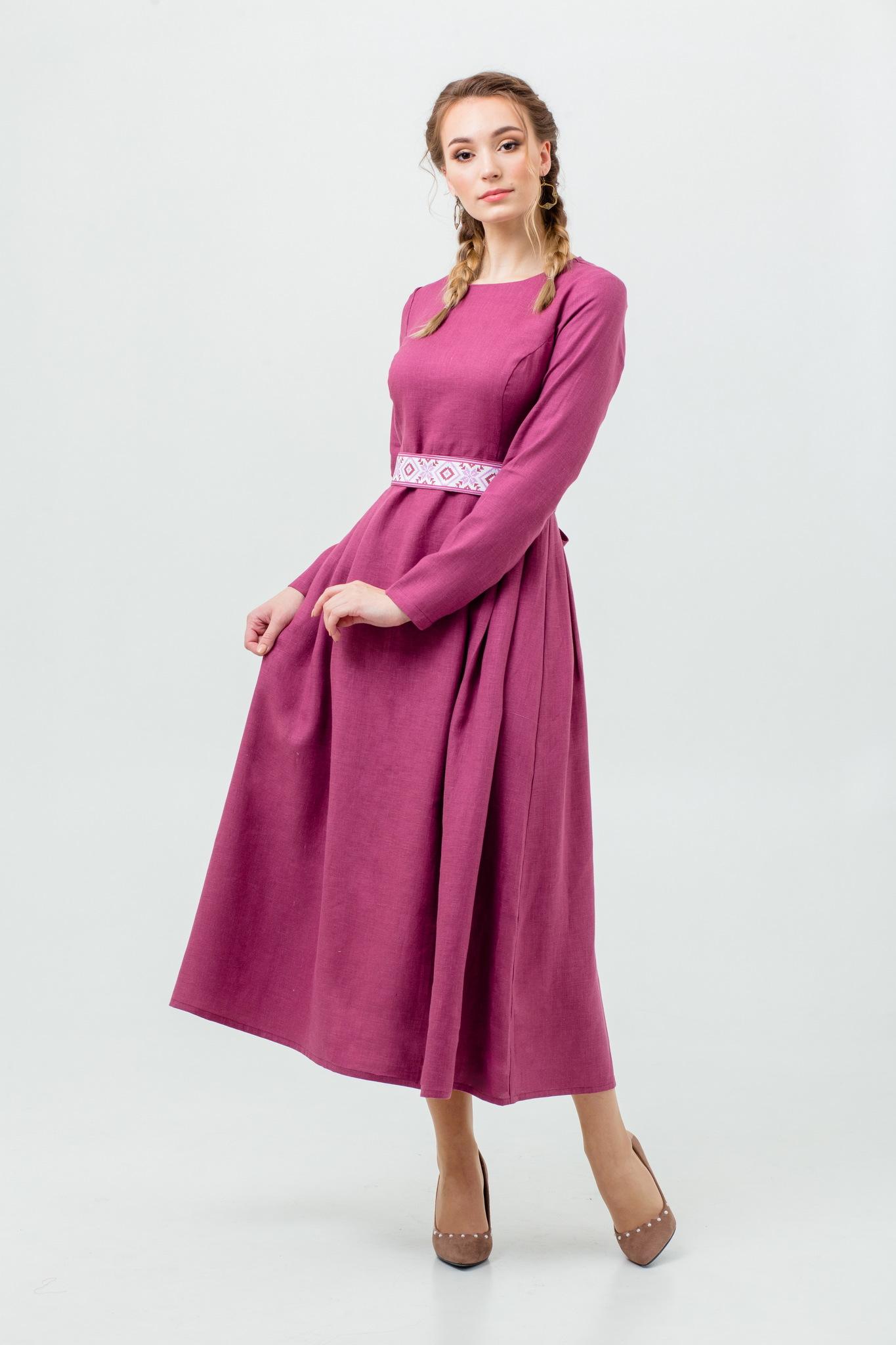 Платье льняное Ежевика