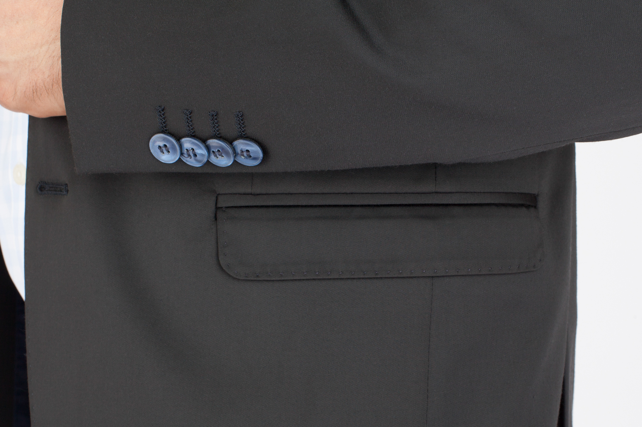 Тёмно-синий хлопковый костюм, накладной карман