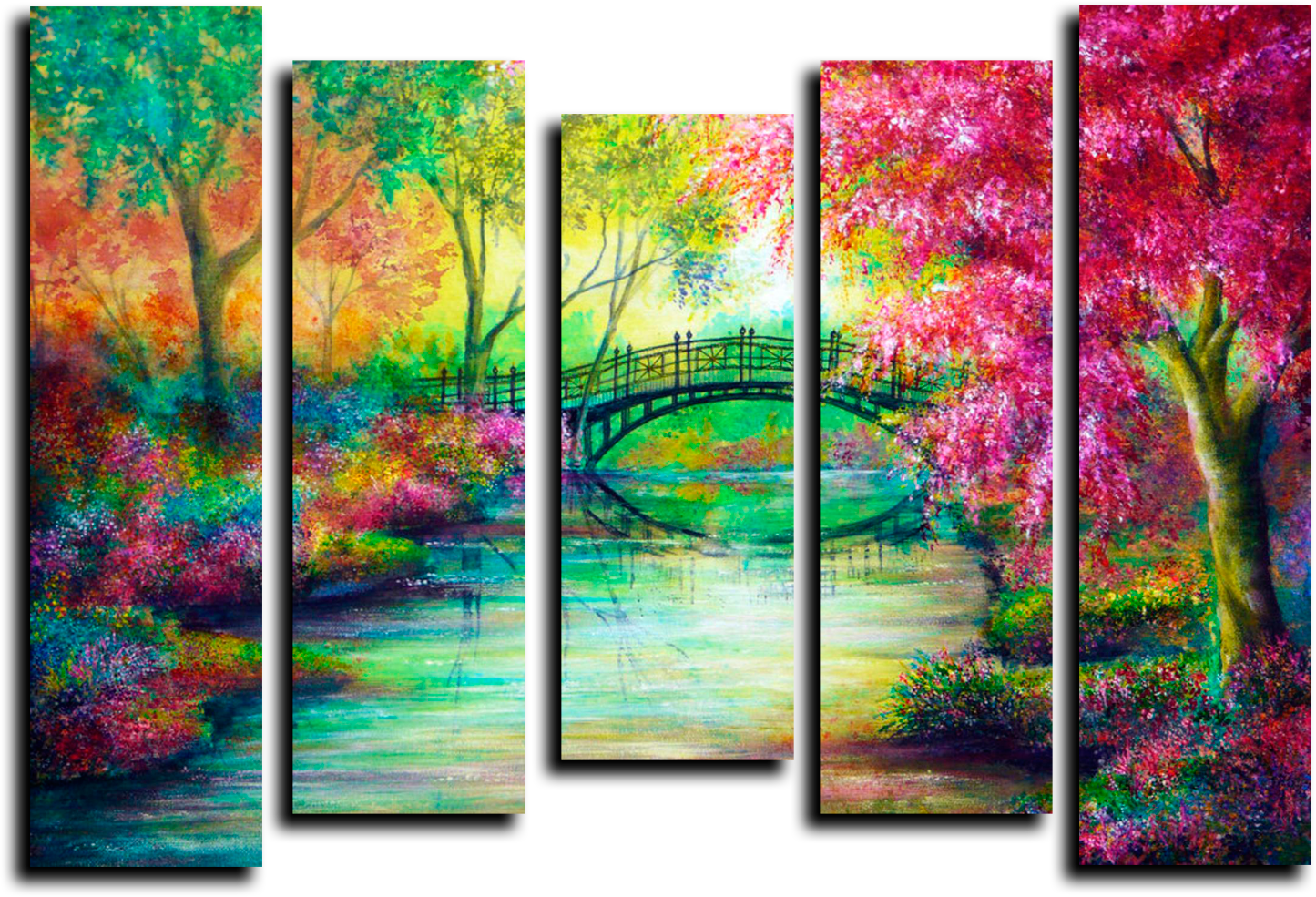 """Модульные картины Модульная картина """"Мост в красочном лесу"""" М61.png"""