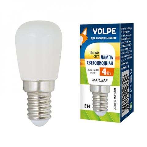 LED-Y25-4W/3000K/E14/FR/Z Лампа светодиодная для холодильников, матовая. Теплый белый свет (3000K). Картон. TM Volpe.