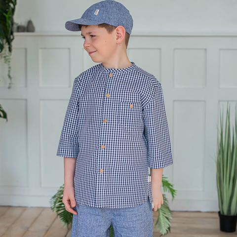 Checked cotton shirt for teens - Deep Blue