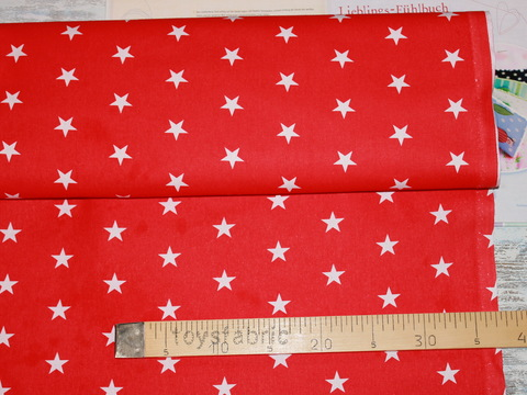 Ткань польский хлопок П152 Звезды на красном (80х50см)