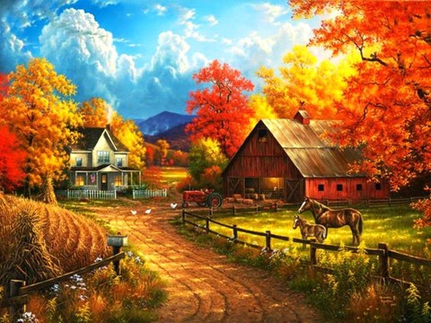 Картина раскраска по номерам 30x40 Дом с конюшней
