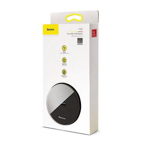 Концентратор USB-HUB Baseus Round Box 1xUSB 3.0 + 3xUSB 2.0, (CAHUB-F01) black