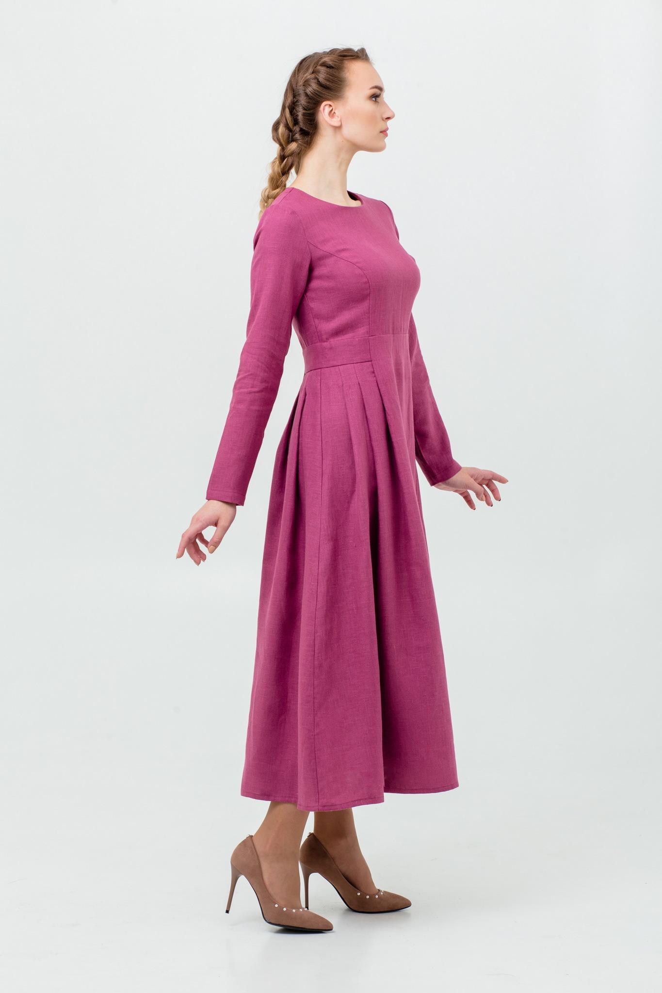 Платье на осень из льна Ежевика