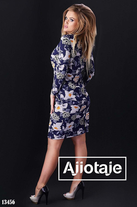 Синее платье миди с цветочным принтом