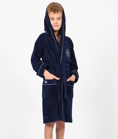 Халат для мальчика  с капюшоном NYC синий  NUSA Турция