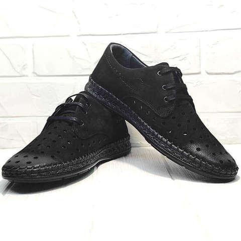 Кэжуал туфли дерби мокасины мужские лето. Черные туфли мокасины с перфорацией Luciano Bellini - All Black.