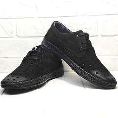 Дерби туфли мужские стиль кэжуал Luciano Bellini 91754-S-315 All Black.