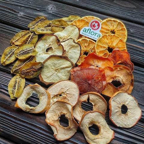Фотография Чипсы микс /киви, груша, яблоко, апельсин, хурма / 100 г купить в магазине Афлора