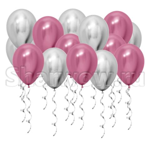 Воздушные шары под потолок Серебро хром и розовый