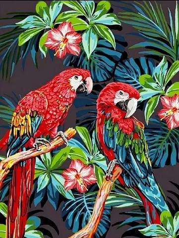Алмазная Мозаика 20x30 Попугаи на цветочном дереве (арт. MTCH8244)