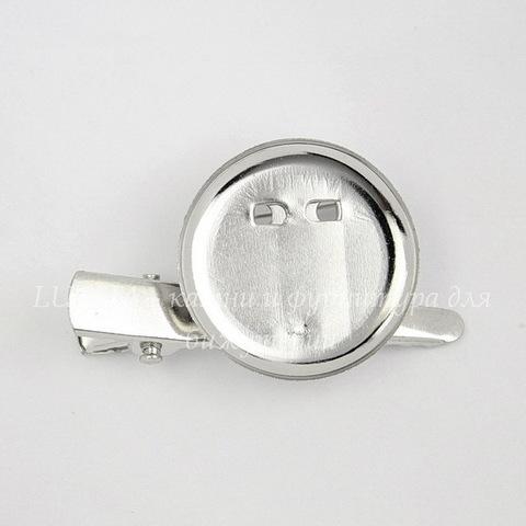 Основа для броши с круглой площадкой 20 мм с 2-мя креплениями (цвет - платина)