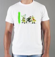 Футболка с принтом мультфильма Рик и Морти (Rick and Morty) белая 004